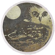 Golden Owl Round Beach Towel