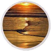 Golden Pacific Sunset Round Beach Towel