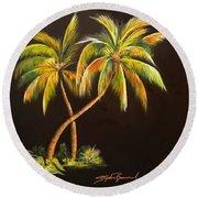 Golden Palms 2 Round Beach Towel