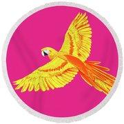 Golden Parrot Round Beach Towel