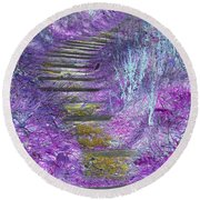 Golden Path Down To Rosslyn Glen Round Beach Towel