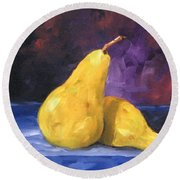 Golden Pears Round Beach Towel