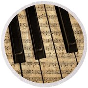 Golden Pianoforte Classic Round Beach Towel