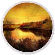 Golden Pond Round Beach Towel