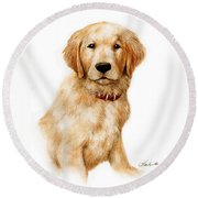 Golden Pup Round Beach Towel