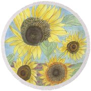 Golden Quartet Round Beach Towel