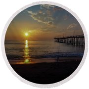 Golden Rays Round Beach Towel