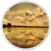 Golden Reflections At Moses Lake Round Beach Towel