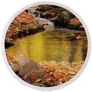 Golden Reflections In A Stream On The Blanchet Trail Gatineau Pa Round Beach Towel