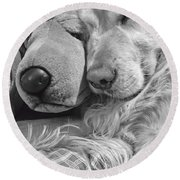 Golden Retriever Dog And Friend Round Beach Towel