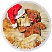 Golden Retriever Dog Christmas Teddy Bear Round Beach Towel