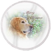 Golden Retriever Dog Merry Christmas Card Round Beach Towel