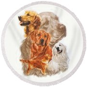 Golden Retriever W/ghost Round Beach Towel
