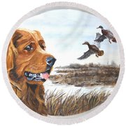Golden Retriever With Marsh Scene Round Beach Towel