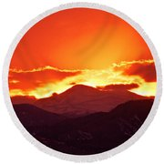 Golden Rocky Mountain Sunset Round Beach Towel