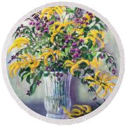 Violet And Gold Round Beach Towel