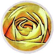 Golden Rose Flower Round Beach Towel