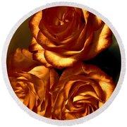 Golden Roses 3 Round Beach Towel