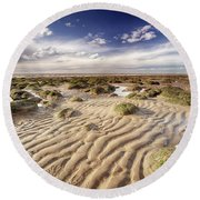 Golden Sand Lines And Seaweed Rocks Of Norfolk Round Beach Towel