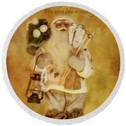 Golden Santa Card 2015 Round Beach Towel