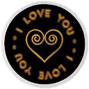 Golden Scrolled Heart And I Love You Round Beach Towel