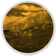 Golden Sea Waves Graphic Digital Poster Art By Navinjoshi At Fineartamerica.com Ideal For Wall Decor Round Beach Towel