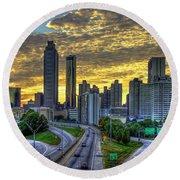 Golden Skies Atlanta Downtown Sunset Cityscape Art Round Beach Towel
