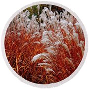 Golden Snow Round Beach Towel