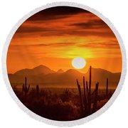Golden Southwest Sunset  Round Beach Towel
