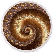 Golden Sparkling Spiral Round Beach Towel