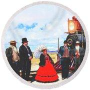 Golden Spike Railroad - Wating - 0749 G Round Beach Towel