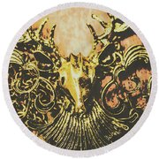 Golden Stag Round Beach Towel