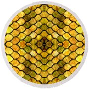 Golden Stained Glass Round Beach Towel