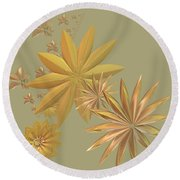 Golden Stars Round Beach Towel