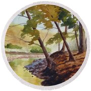 Golden Stream Round Beach Towel