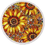 Golden Sunflower Round Beach Towel