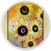Golden Sunflowers Round Beach Towel