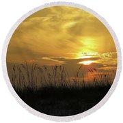 Golden Sunrise  Round Beach Towel