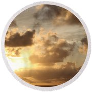 Golden Sunrise On Kauai Round Beach Towel