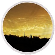 Golden Sunrise Round Beach Towel