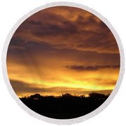 Golden Sunset 1 Round Beach Towel