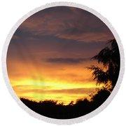 Golden Sunset 2 Round Beach Towel