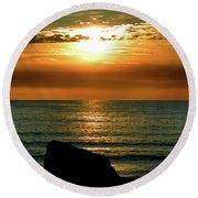 Golden Sunset At The Beach IIi Round Beach Towel