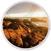 Golden Sunset Coast Round Beach Towel