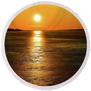 Golden Sunset Light On The Ice Two  Round Beach Towel