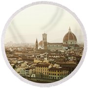 Golden Sunset Of Florence, Italy. Round Beach Towel