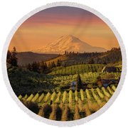 Golden Sunset Over Hood River Pear Orchard Round Beach Towel