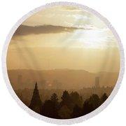 Golden Sunset Over Portland Skyline Round Beach Towel