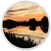 Golden Sunset Reflection Round Beach Towel