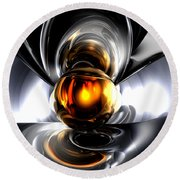 Golden Tears Abstract Round Beach Towel